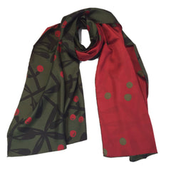 "Kibiso Scarf: ""Berries&Branches"" (Dark Green&Red)"