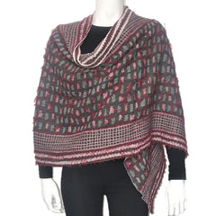 "NUNO One-Armhole Shawl: ""Shards"" (Red Mix)"