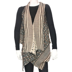 "NUNO Two-Armhole Shawl (Vest): ""Shards"" (Camel Mix)"