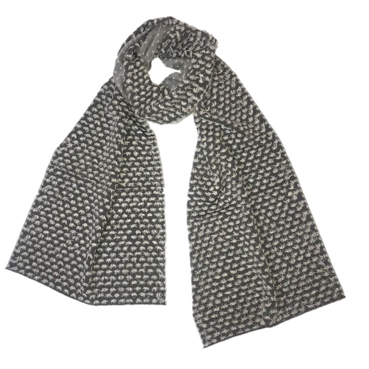 "NUNO Scarf: ""Silk Papillon"" (Gray/White)"