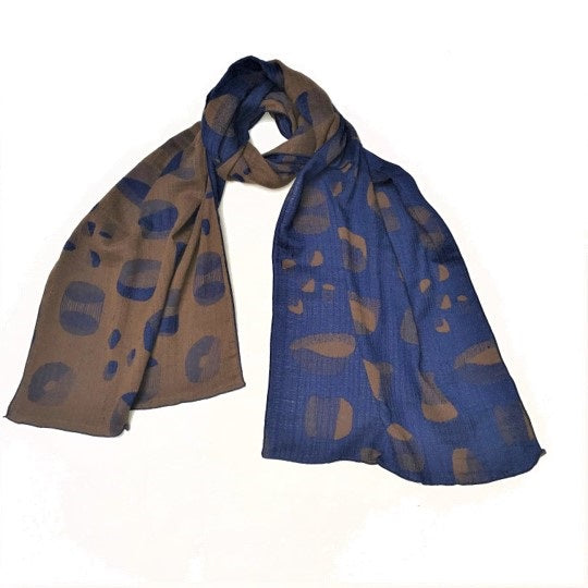 "NUNO Scarf: ""Space Debris"" (Royal Blue/Carmel)"