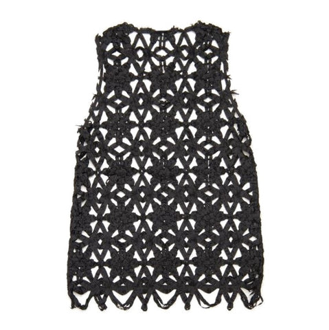 "NUNO Over-Tunic: ""Bobbin Flowers"" (Black, Size 2)"