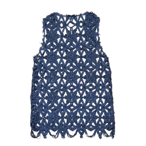 "NUNO Over-Tunic: ""Bobbin Flowers"" (Blue, Size 1)"