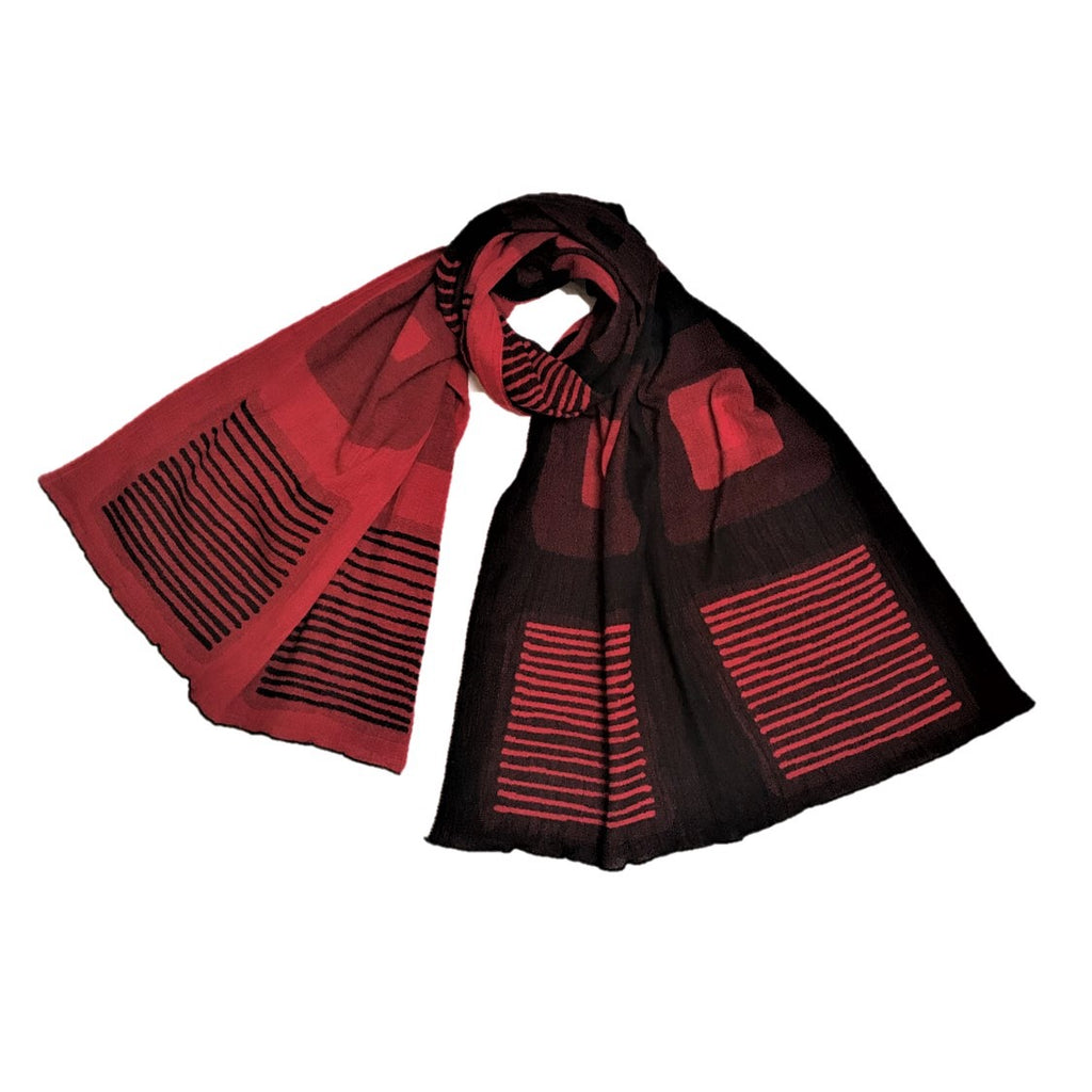 "NUNO Oversized Scarf: ""Stain"" (Red/Black)"