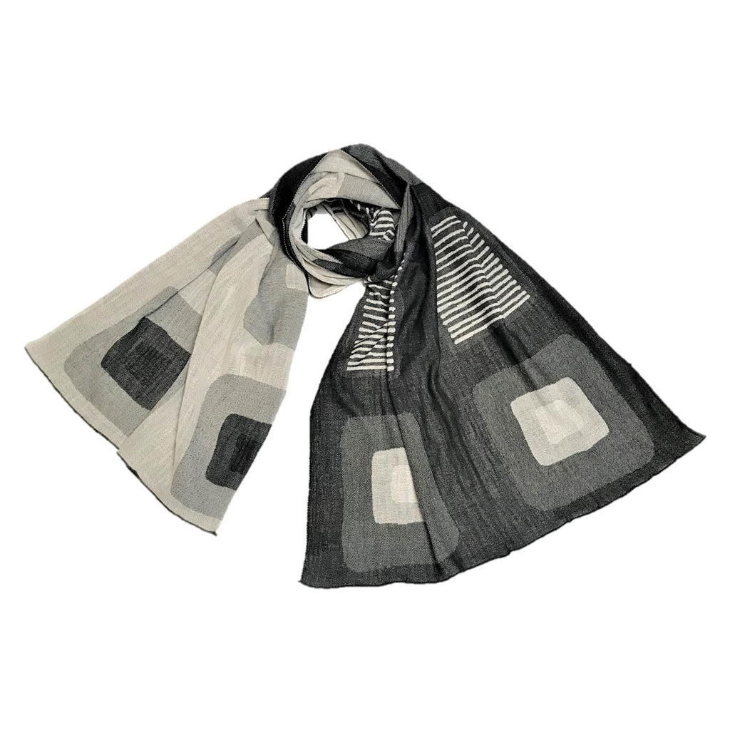 "NUNO Oversized Scarf: ""Stain"" (White/Black)"