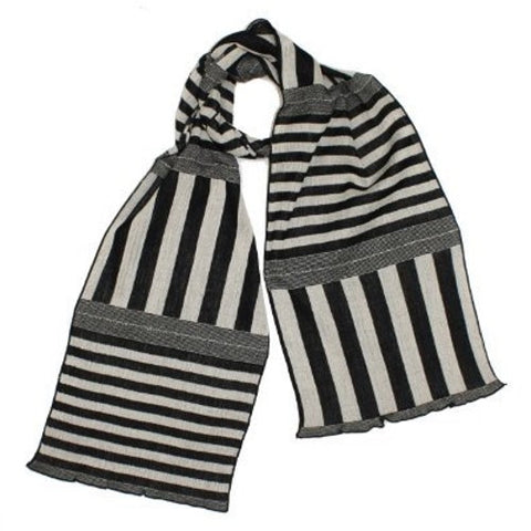 "NUNO Narrow Scarf: ""Stripy Stripe"" (White/Black)"