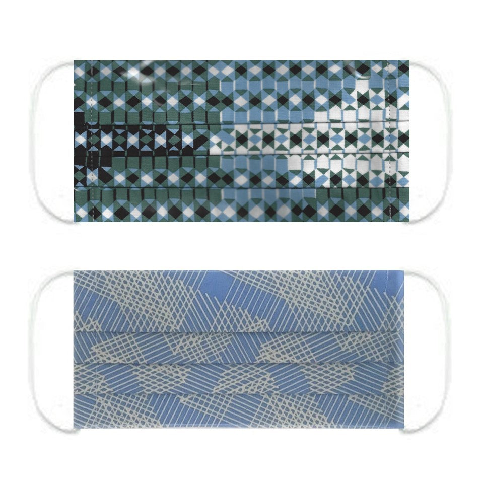 "NUNO Pleated Facemask 2-Piece Set: ""Sukashi Overlay"" (Blue/Green/White) & ""Origami Slide"" (Blue/Gray)"