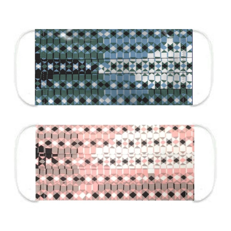 "NUNO Pleated Facemask 2-Piece Set: ""Sukashi Overlay"" (Blue/Green/White) & ""Sukashi Overlay"" (Pink/Black/White)"