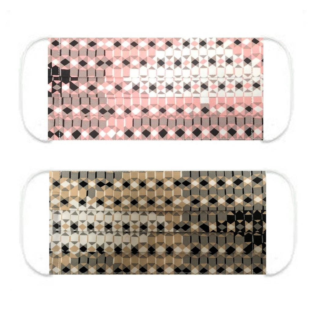 "NUNO Pleated Facemask 2-Piece Set: ""Sukashi Overlay"" (Pink/Black/White) & ""Sukashi Overlay"" (Beige/Black/White)"