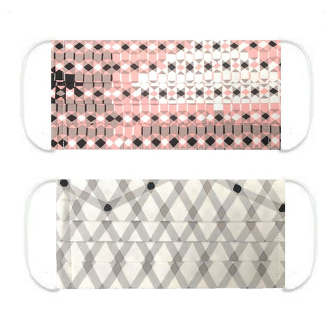 "NUNO Pleated Facemask 2-Piece Set: ""Sukashi Overlay"" (Pink/Black/White) & ""Hexagon"" (Gray/Black/White)"