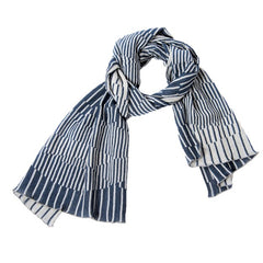 "NUNO Shawl: ""Surf"" (Blue/White)"