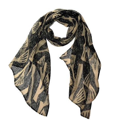 "NUNO Scarf: ""Bells"" (Black on Beige)"