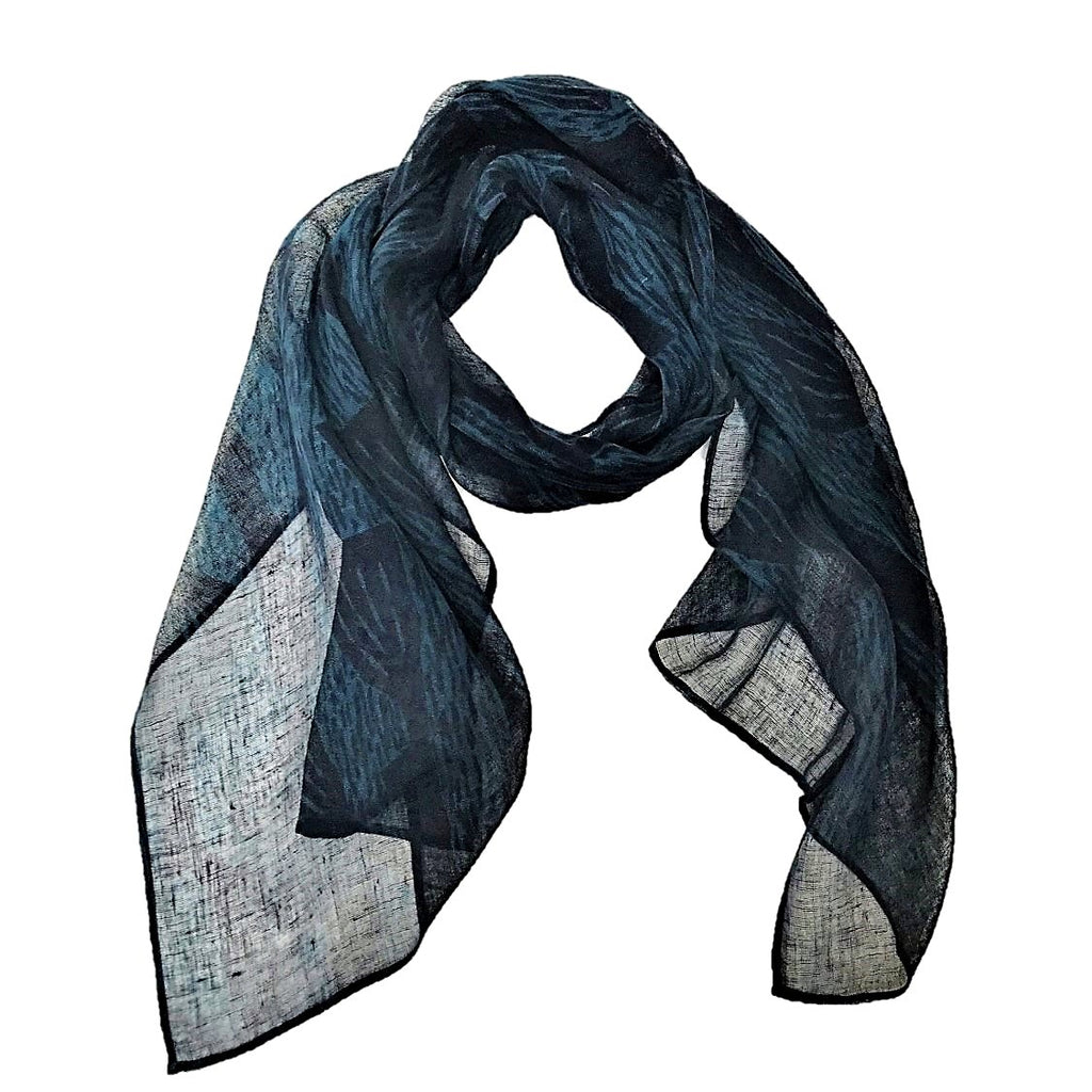 "NUNO Scarf: ""Bells"" (Navy on Blue)"
