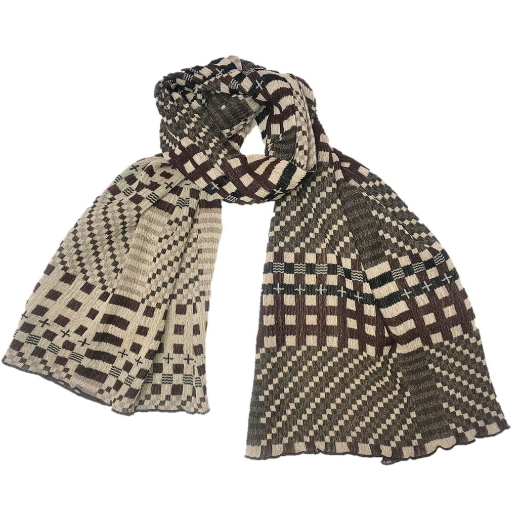 "NUNO Shawl: ""Tiles"" (Brown/Black)"