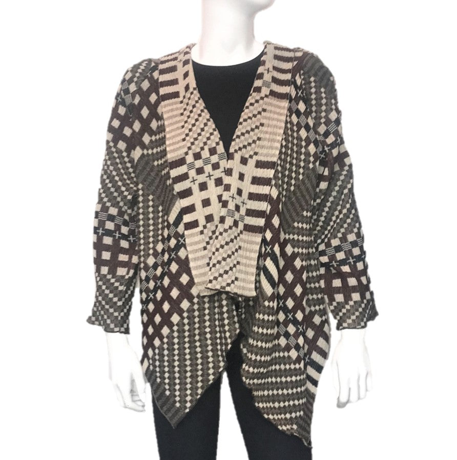 "NUNO Shawl Jacket: ""Tiles"" (Brown Mix)"