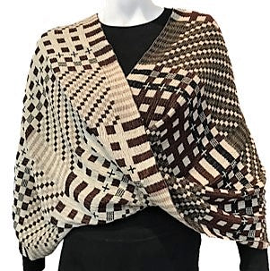 "NUNO Infinity Shawl/Shrug: ""Tiles"" (Brown)"