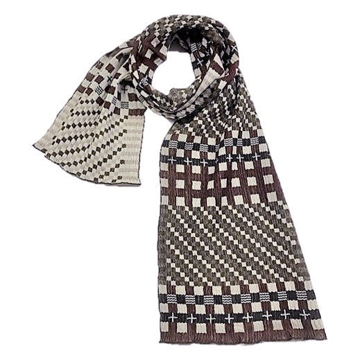 "NUNO Narrow Shawl: ""Tiles"" (Brown/Black)"