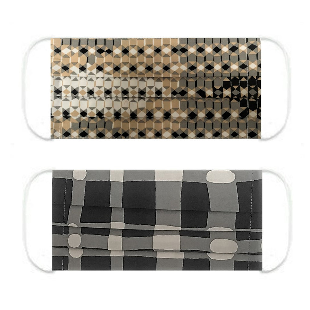 "NUNO Pleated Facemask 2-Piece Set: ""Sukashi Overlay"" (Beige/Black/White) & ""Wavy Gingham"" (Black/Gray/White)"