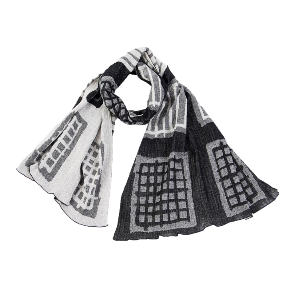 "NUNO Oversized Scarf: ""Warp and Weft"" (White/Black)"
