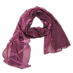 "NUNO Long Scarf: ""Tsumami Shibori"" (Watermelon/Wine)"