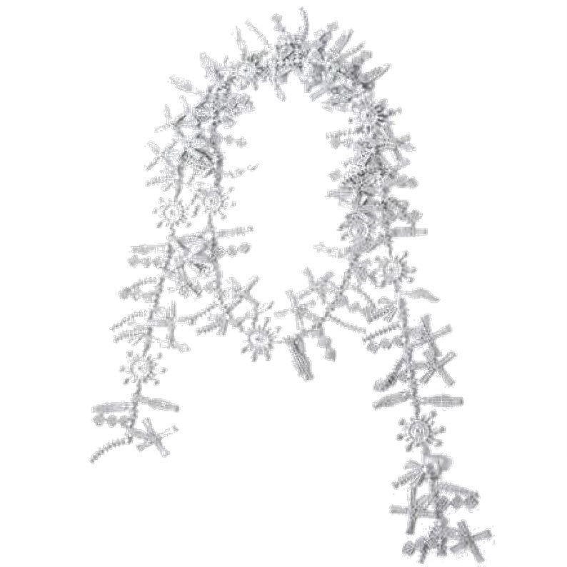 "NUNO Lace Necklace: ""Water Wheel"" (Silver Metallic)"