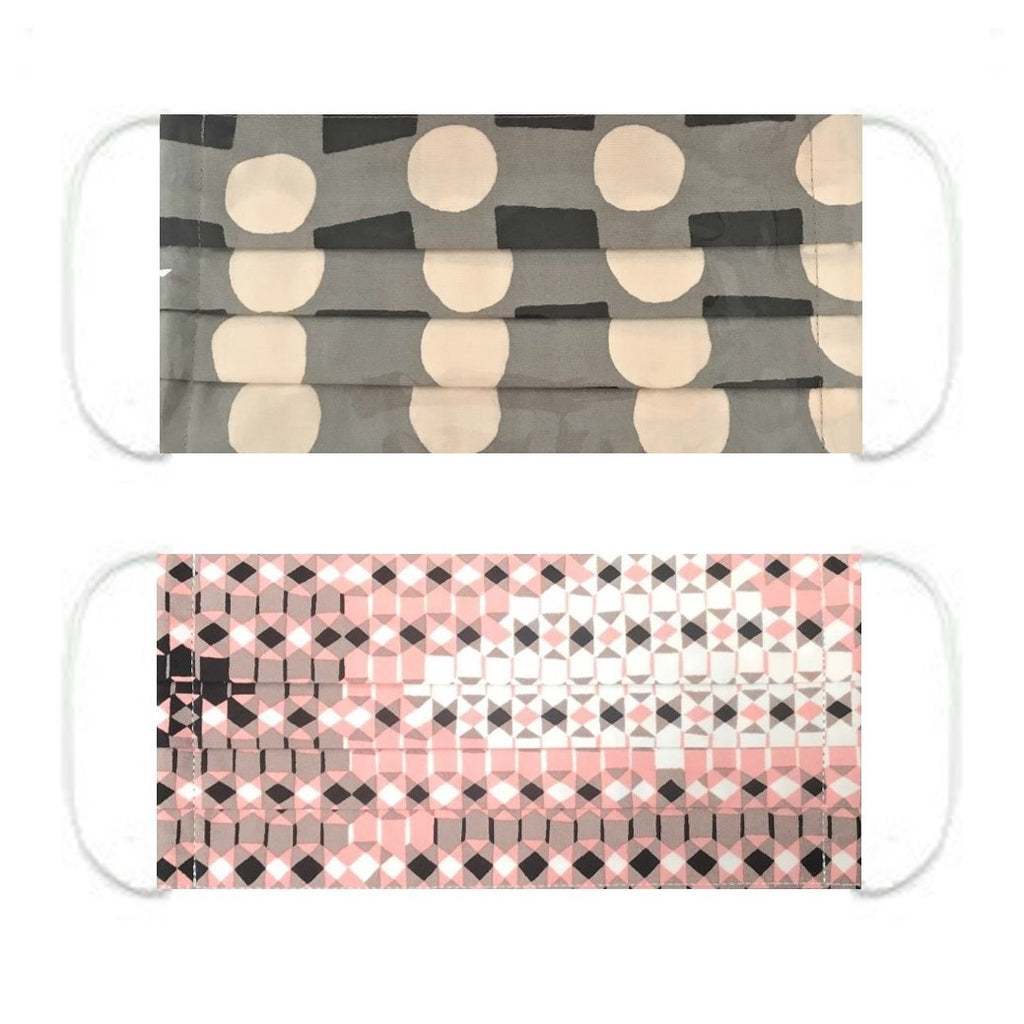 "NUNO Pleated Facemask 2-Piece Set: ""Wavy Plaid"" (Black/Gray/White) & ""Sukashi Overlay"" (Pink/Black/White)"