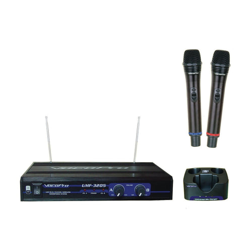 VocoPro UHF-3205 Rechargeable Dual-Channel UHF Wireless Microphone System
