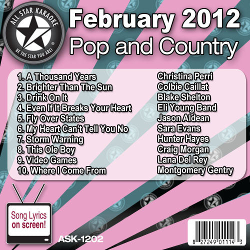 All Star Karaoke ASK-1202 February 2012 Pop and Country Hits