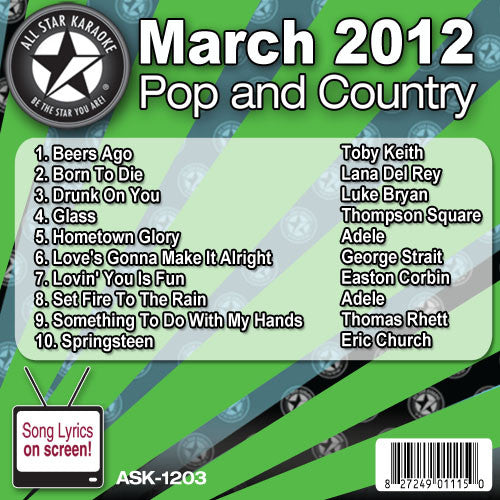 All Star Karaoke ASK-1203 March 2012 Pop and Country Hits