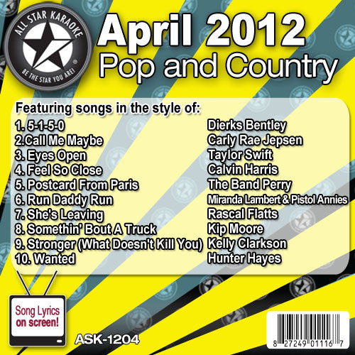 All Star Karaoke ASK-1204 April 2012 Pop and Country Hits