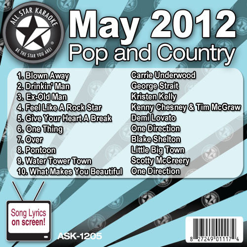 All Star Karaoke Monthly Series ASK1205 May 2012 Pop and Country Hits