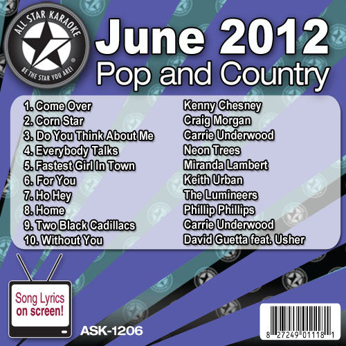 All Star Karaoke ASK-1206 June 2012 Pop and Country Hits