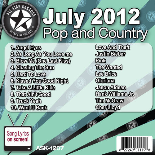 All Star Karaoke ASK-1207 July 2012 Pop and Country Hits