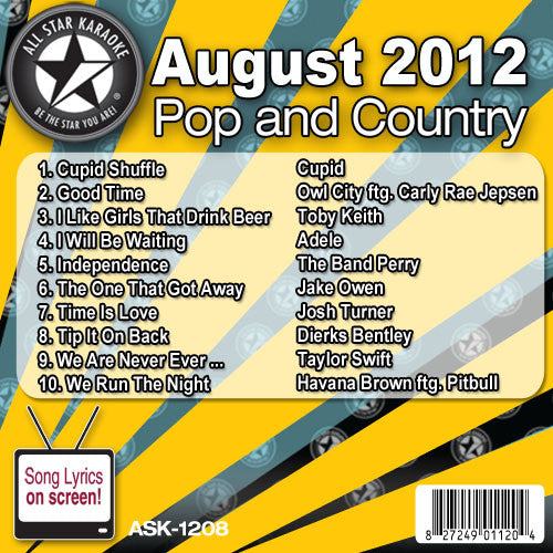 All Star Karaoke ASK-1208 August 2012 Pop and Country Hits