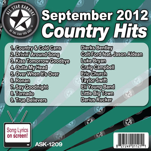 All Star Karaoke Monthly Series ASK1209C September 2012 Pop and Country Hits
