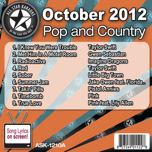 All Star Karaoke Monthly Series ASK1210A October 2012 Pop and Country Hits Disc A