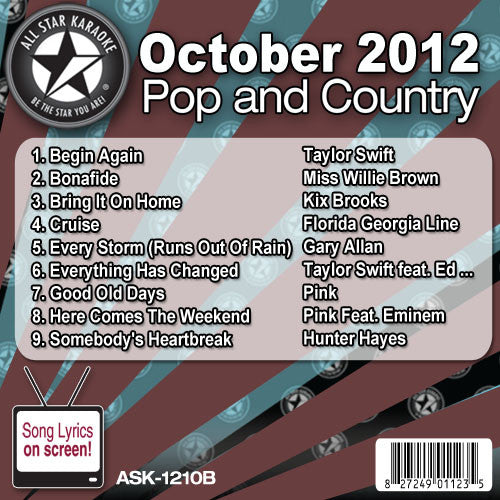 All Star Karaoke ASK-1210B October 2012 Pop and Country Hits Disc B