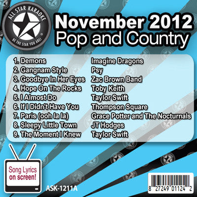 All Star Karaoke ASK-1211A November 2012 Pop and Country Hits Disc A