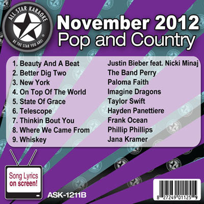All Star Karaoke Monthly Series ASK-1212B December 2012 Pop and Country Hits Disc B