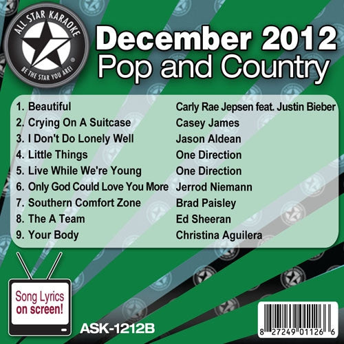All Star Karaoke Monthly Series ASK1212B December 2012 Pop and Country Hits Disc B