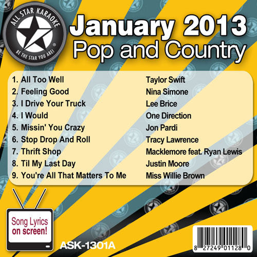 All Star Karaoke ASK-1301A January 2013 Pop and Country Hits Disc A