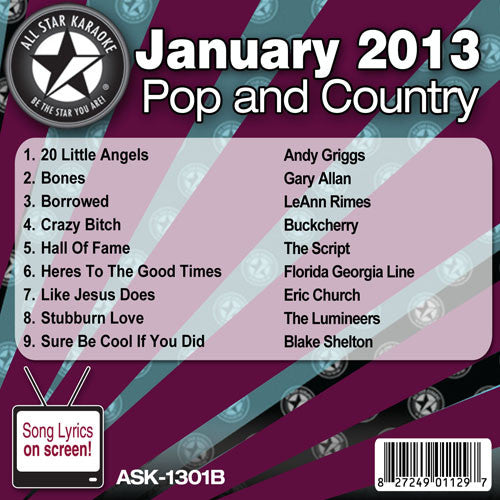 All Star Karaoke Monthly Series ASK1301B January 2013 Pop and Country Hits Disc B