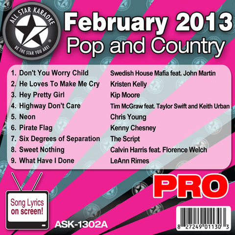 All Star Karaoke Monthly Series ASK-1302B February 2013 Pop and Country Hits Disc B