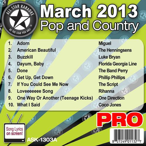 All Star Karaoke ASK-1303A March 2013 Pop and Country Hits Disc A
