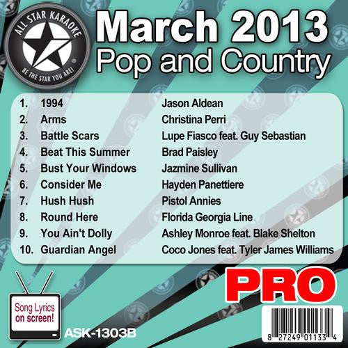 All Star Karaoke Monthly Series ASK1303B March 2013 Pop and Country Hits Disc B