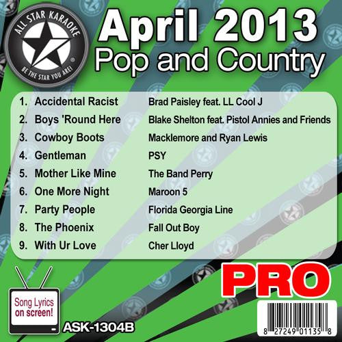 All Star Karaoke ASK-1304B April 2013 Pop and Country Hits Disc B