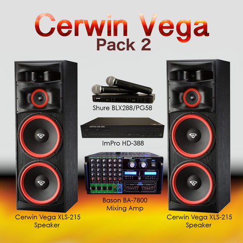 Cerwin Vega Pack #6: Combination of HD-388(5TB), BA-7800, XLS-215, BLX24/Beta58