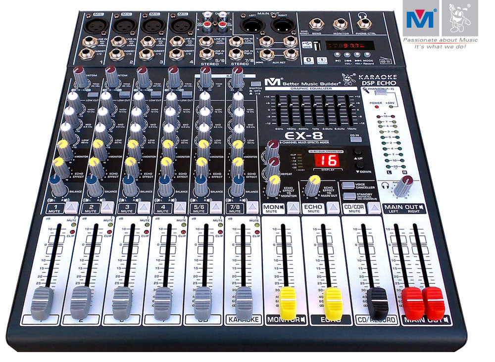 Better Music Builder EX-8 8-Channel Professional DJ / KJ Audio Mixer