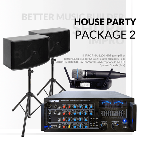House Party Package #02: ImPro PMA-1200 + HD-888A (6TB) + BetterMusicBuilder CS-612 G3 + Stands + Shure GLXD Series Microphone