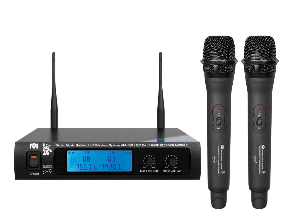 Better Music Builder VM-52U Dual Wireless Microphone System (RECHARGEABLE)
